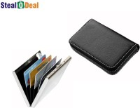 Stealodeal Full Black Leather With Silver Plain Metal 15 Card Holder (Set Of 2, Black, Silver)