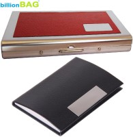 BillionBAG High Quality Stylish Black Leather Visiting And Steel Red Leather ATM Card Holder 6 Card Holder (Set Of 2, Silver, Red, Black)