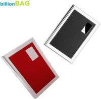 BillionBAG New Steel Black Leather Luxury & Steel Red LeatherExecutive Silver ATM 6 Card Holder (Set Of 2, Multicolor)