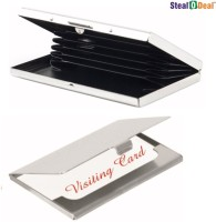 Stealodeal Executive High Quality Steel 6 Card Holder (Set Of 2, Silver)