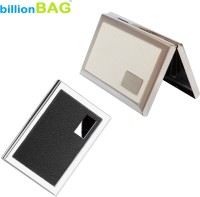BillionBAG New Steel Leather Black Luxury & Steel White Leather Executive Silver ATM 6 Card Holder (Set Of 2, Multicolor)