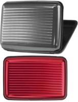 Squeeze Men & Women MultiColor Card Holder 6 Card Holder (Set Of 2, Red, Black)