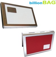 BillionBAG | High Quality | White Leather Steel And Red Leather Steel (combo) 6 Card Holder (Set Of 2, Red, White, Silver)