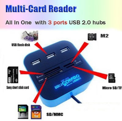 Outre USB 2.0 hub Combo All In One with 3 ports for SD/MMC/M2/MS Multi Card Reader (Black)