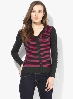 Annabelle By Pantaloons Women's Button Striped Cardigan