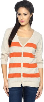 Allen Solly Women's Button Striped Cardigan