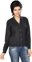 Ishin Women's Button Solid Cardigan