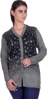 SatSun Women's Button Solid, Polka Print Cardigan