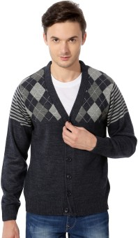 Peter England Men's Button Printed Cardigan