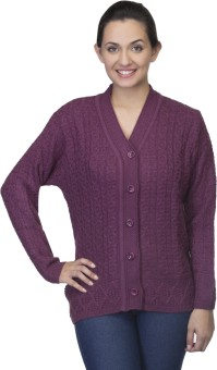 One Femme Women's Button Self Design Cardigan