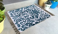 JJ DESIGN Blue Cotton Area Rug 45 Cm  X 45 Cm