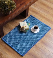 SWHF Blue Cotton Area Rug 60 Cm  X 90 Cm