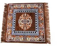 MR MACHROLI Brown Cotton Polyester Blend Carpet 65 Cm  X 65 Cm