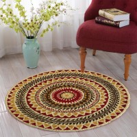 The Home Talk Red, Multicolor Cotton Polyester Blend Carpet 91 Cm  X 91 Cm