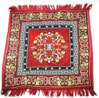 MR MACHROLI Red Cotton Polyester Blend Carpet 65 Cm  X 65 Cm