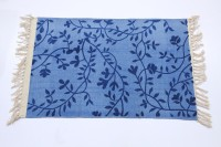 TEX N CRAFT Blue Cotton Area Rug 50 Cm  X 80 Cm