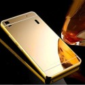 Mahi Max Back Cover For Metal Bumper Plus Acrylic Mirror Back Cover Case For Lenovo A6000 (Gold)