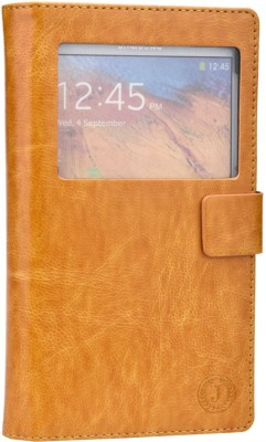 Jojo Flip Cover for iBall Andi 5h Quadro Light Brown available at Flipkart for Rs.690