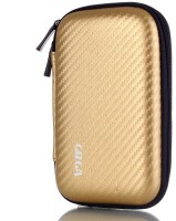 Gizga Pouch For GIZGA Branded 2.5 Inch Golden Color Carbon Fiber Mesh Series External Portable Hard Disk Drive Carry Cover Protector/ Pouch / Bag/HDD Case (Gold)