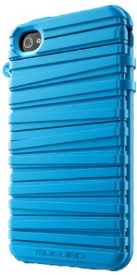 Musubo Rubber Band Case with Screen Protector and Video Stand for iPhone 4 / 4S - Blue