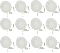 Galaxy Galaxy 6 Watt Led Panel Light Round,Cool White With 2 Years Warranty Set Of 12 Recessed Ceiling Lamp