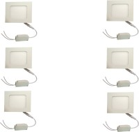 Galaxy Galaxy 6 Watt Led Panel Light Square,Cool White With 2 Years Warranty Set Of 6 Recessed Ceiling Lamp