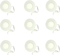 Galaxy 3 Watt Led Panel Light Round,Cool White With 2 Years Warranty Set Of 9 Recessed Ceiling Lamp