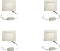 Galaxy Galaxy 6 Watt Led Panel Light Square,Cool White With 2 Years Warranty Set Of 4 Recessed Ceiling Lamp