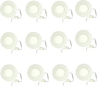 Galaxy 3 Watt Led Panel Light Round,Cool White With 2 Years Warranty Set Of 12 Recessed Ceiling Lamp