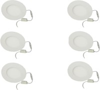 Galaxy Galaxy 6 Watt Led Panel Light Round,Cool White With 2 Years Warranty Set Of 6 Recessed Ceiling Lamp