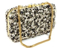 Claude Lorrain Pearl And Diamond Metal Box Clutch - Black Silver