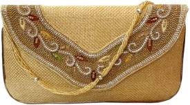 Bhamini Party Gold Jute  Clutch