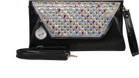 Adara Collections Studded Clutch Women Party Black Synthetic  Clutch