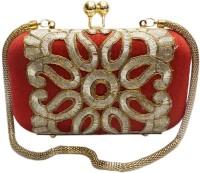 Bhamini Rawsilk Box Clutch With Cutwork Lace  Clutch - Red-01