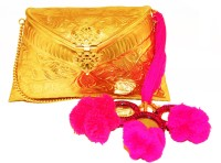 Ruhmet Embossed Gold With Pink Mirror Detail Tassels  Clutch - Brass