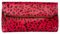Klasse Genuine Leather Women Red Fold Over (Leopard Print) Women Casual Red Genuine Leather  Clutch