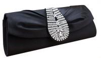 Chicastic Royal Look Silk Rhinestone Studded Wedding Evening Bag Black Women Wedding Black Satin  Clutch