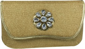 Desire Casual, Festive, Formal, Wedding, Party Gold Cotton Jute Fabric With Velvet Combination  Clutch