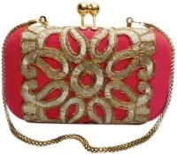 Bhamini Rawsilk Box Clutch With Cutwork Lace  Clutch - Pink-01