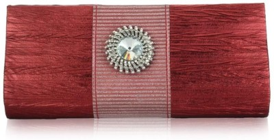 Oleva Silk Crystal Clutch Maroon
