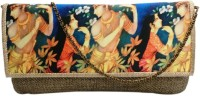 Bhamini Jute With Digital Print On Flap With Gold Brocade Border Women Party Gold Jute  Clutch