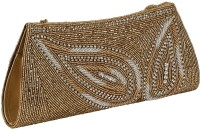 Gold Zari House Casual, Party, Festive Gold, White Glass Beads, Polyester Satin, PU Linning  Clutch