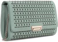 E2O Women Green Artificial Leather Clutch