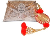 Ruhmet Embossed Silver With Red Gotta Detail Tassel  Clutch - Brass