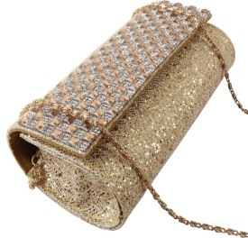 Dooda Party Gold Artificial Leather  Clutch