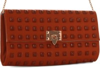 Abrazo Halfmoon Stud Girls, Women Casual Brown PU  Clutch