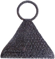 GiftPiper Triangular Bead Women Casual Black Satin  Clutch