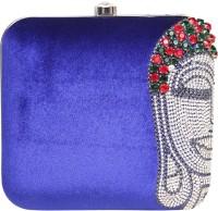 Adara Collections Buddha Women Party Blue Velvet  Clutch