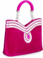 Penguin Pink Diamond Embrodiery Girls Party Pink Velvet  Clutch
