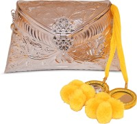 Ruhmet Embossed Silver With Yellow Mirror Detail Tassel  Clutch - Brass